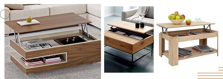 aménagement salon avec des tables relevables en bois