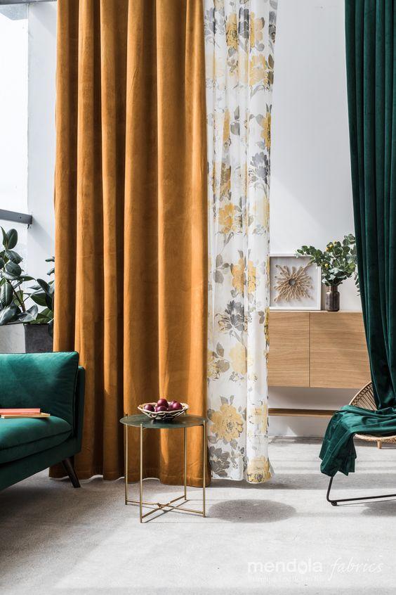 rideaux couleur jaune safran et vert