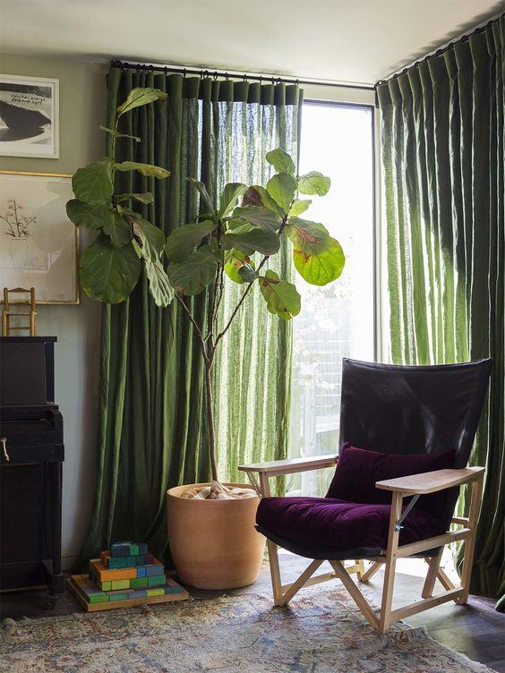 rideaux de couleur verte dans salon végétal