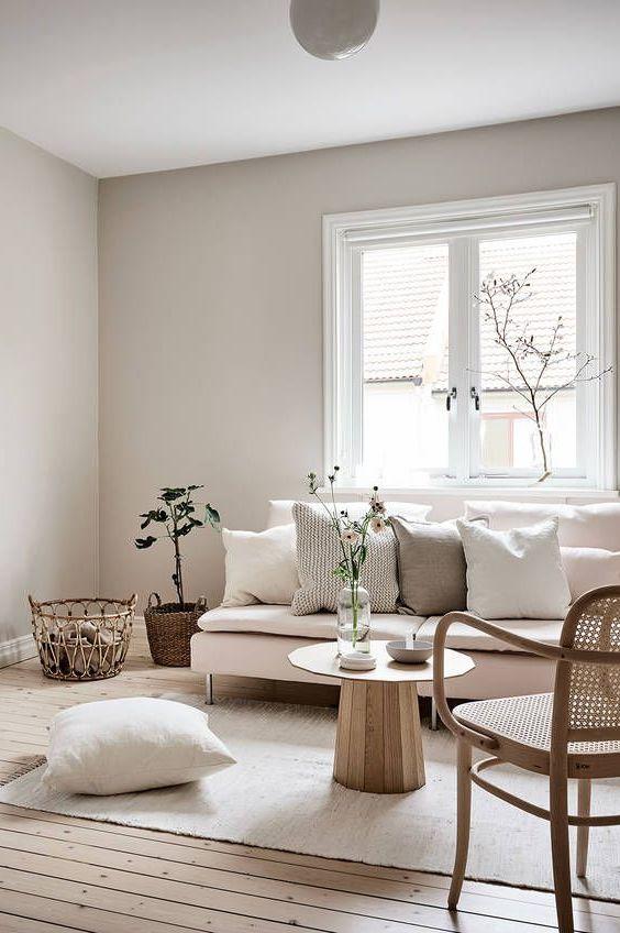 salon rose et mobilier en bois pour intérieur lagom