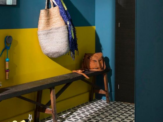 mur de hall en jaune safran et bleu paon