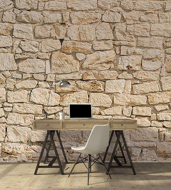 papier peint façon mur en grosses pierres de différentes formes