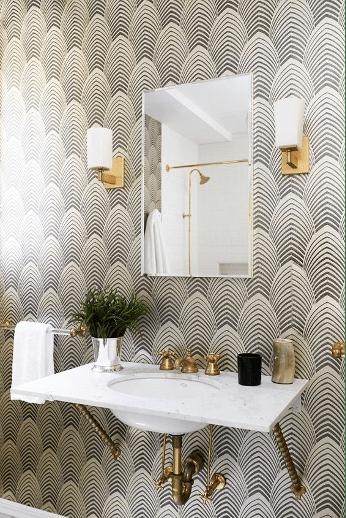 papier peint tendance de salle de bains facilement nettoyable