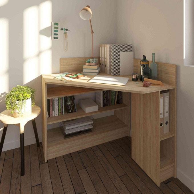 bureau d'angle en bois avec des rangements pratiques