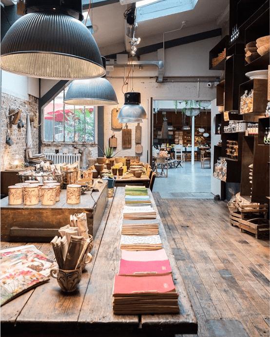 aménagement magasin de style vintage avec du parquet en bois et des tables rétro en dessous de larges lampes industrielles