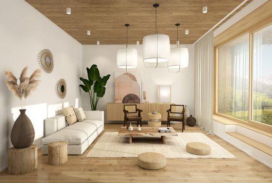 salon scandinave de style japandi au couleurs naturelles et au mobilier en bois brut et osier