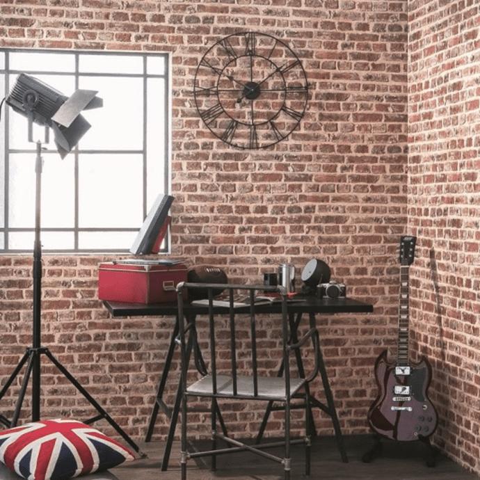 papier peint en briques rouges dans un studio de musique