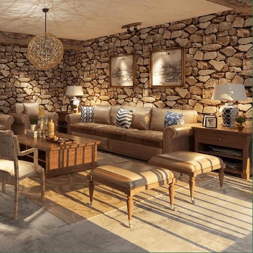 un salon de déco rustique avec du mobilier classique en bois et des murs en papier peint façon grosses pierres