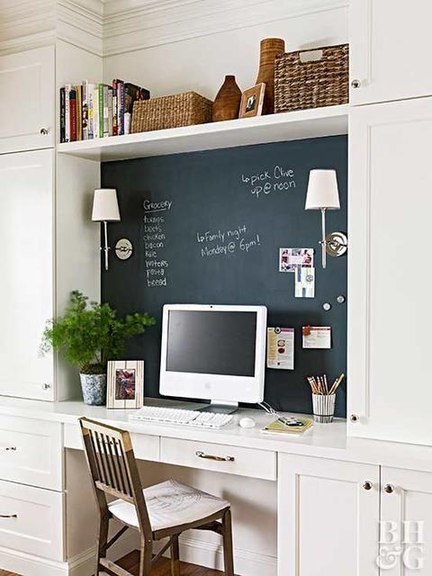 bureau encastré dans une bibliothèque avec un mur en peinture ardoise pour prendre des notes
