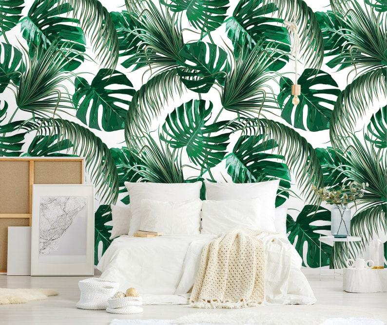 papier peint de style jungle tropicale avec de grandes feuilles de bananier