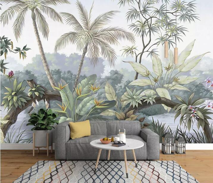 papier peint représentant une forêt tropicale couvrant le large mur d'un salon scandinave