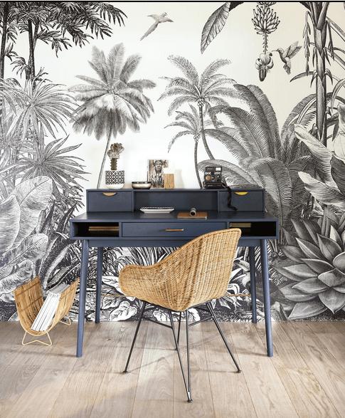 papier peint exotique gris avec du mobilier design gris en bois et rotin