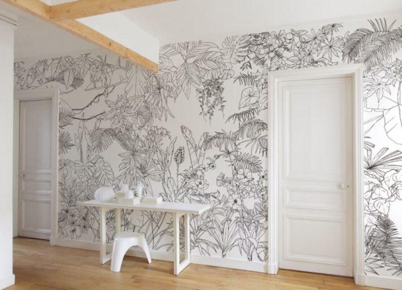 papier peint noir et blanc représentant une jungle tropicale