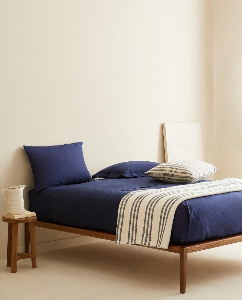 linge de lit bleu pour une déco été