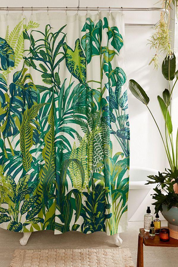 rideaux de douche à motif forêt tropicale