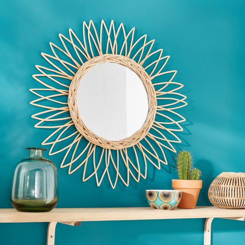 miroir rond en osier