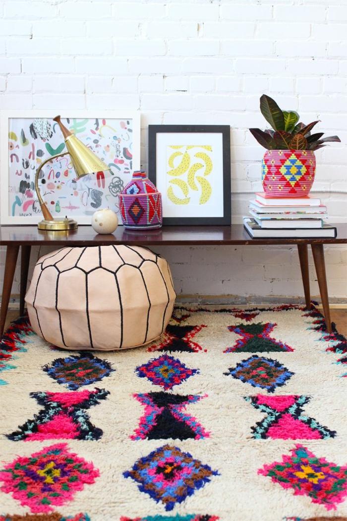 tapis tribal à motifs géométrique pour une déco été colorée