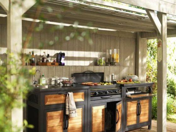 élément complet de cuisine d'extérieur avec grill et évier encastrés