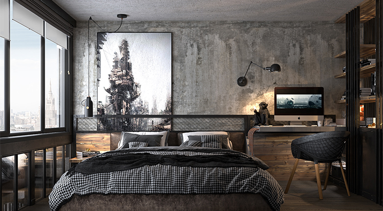 industrial-bedroom-with-concrete-wall