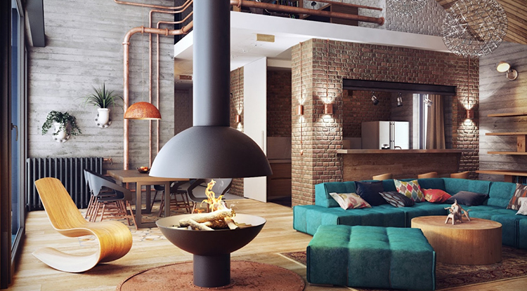 viridian-green-sofa-in-industrial-style-decorated-room