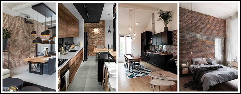des-espaces-interieurs-avec-des-murs-en-briques-decorer-par-des-meubles-en-bois-et-métal-de-style-industriel
