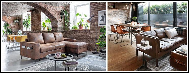 espace-interieur-decorer-avec-un-salon-marron-et-salle-a-manger-style-industriel
